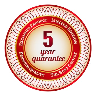 Round red and gold sticker or label on 5 year guarantee