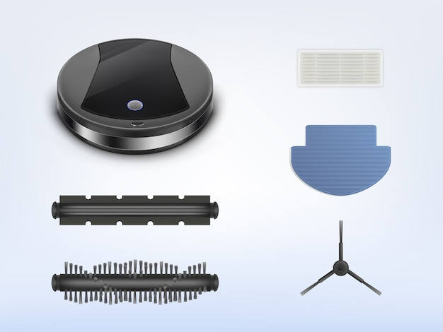 Round robotic vacuum cleaner with spares, smart robot with spare parts for repair