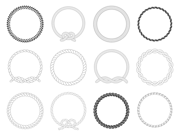 Round rope frame. circle ropes, rounded border and decorative marine cable frame circles isolated  set
