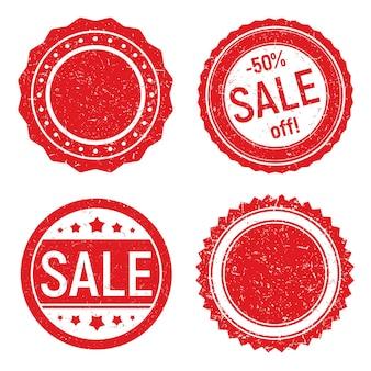 그런 지 스타일의 라운드 고무 스탬프 빨간색 판매 배지 템플릿 뜨거운 가격 세트 최고의 제안