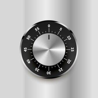 明るいメタリックな背景に数字で丸い安全ロック