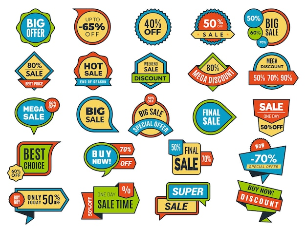 Round sale stickers. promo tags or badges best price advertising stickers collection. illustration price offer, business tag for shop retail