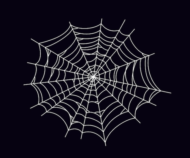 Round scary spider web. white cobweb silhouette isolated on black background. hand drawn spider web for halloween party. vector illustration.