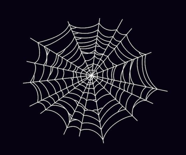 丸い怖い蜘蛛の巣。黒の背景に分離された白いクモの巣のシルエット。ハロウィーンパーティーのための手描きのクモの巣。ベクトルイラスト。