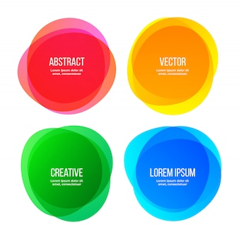 Round shape banners, abstract color graphic design elements.   watercolor brush gradient colors