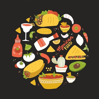 Round shape composition with taste of mexico. setof different mexican food in circle.