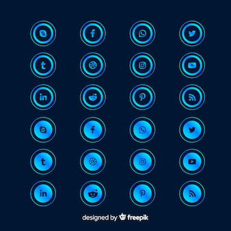 グラデーションソーシャルメディアのロゴコレクションの丸い形