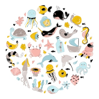 海の動物の丸型