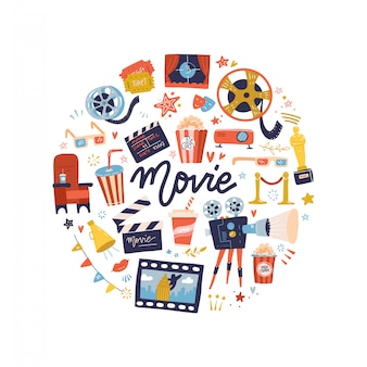 Round shape print concept with flat movie design elements. collection of many movie items. cartoon flat illustration.