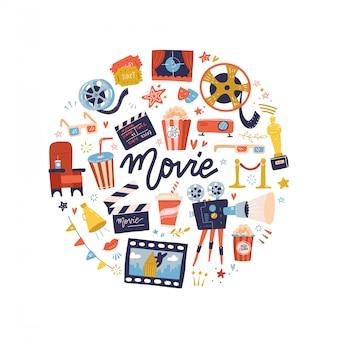 Концепция печати круглой формы с плоскими элементами дизайна фильма. коллекция многих предметов из фильмов. плоский мультфильм иллюстрации.