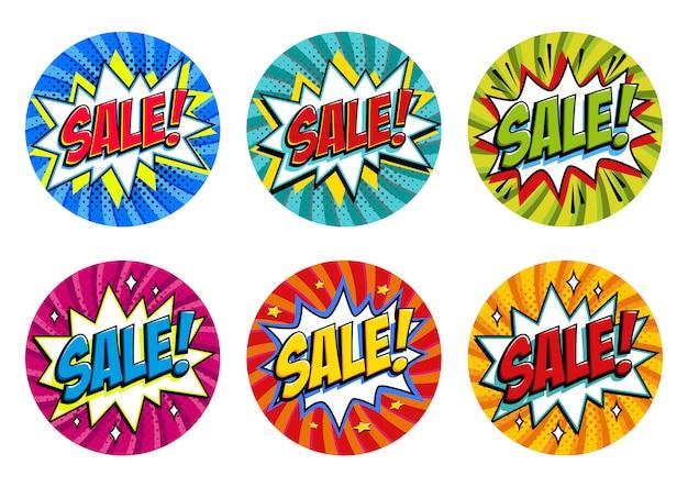 둥근 모양 판매 태그 설정합니다. 파란색, 녹색, 분홍색, 빨간색, 노란색, 청록색. 팝 아트 만화 판매 할인 프로모션 스티커.