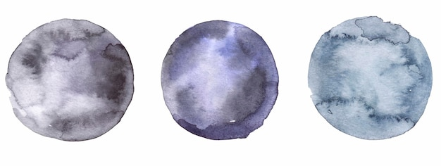둥근 모양의 수채화 얼룩 세트 디자인 및 인쇄