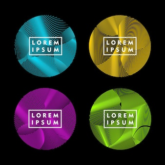 Round shape with abstract line pattern color design element vector set