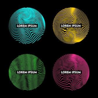 물결 모양의 추상 선 패턴 색상 디자인 요소가 있는 둥근 모양