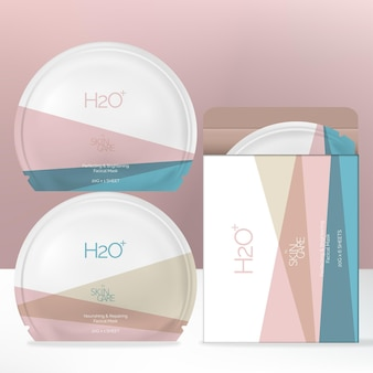 Round shaped facial mask foil bag packet with minimalist patel geometric print pattern and box packaging