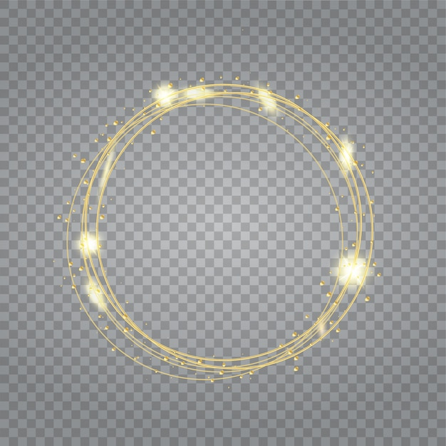 Round shiny frame background with light bursts.