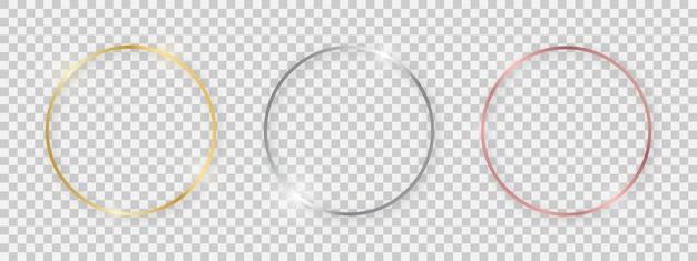 輝く効果のある丸い光沢のあるフレーム。透明な背景に影付きの3つのゴールド、シルバー、ローズゴールドのラウンドフレームのセットです。ベクトルイラスト