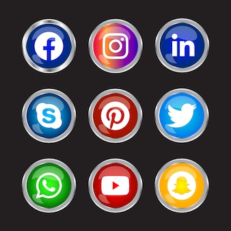 Round shiny silver frame social media icons button with gradient effect set for ux ui online use