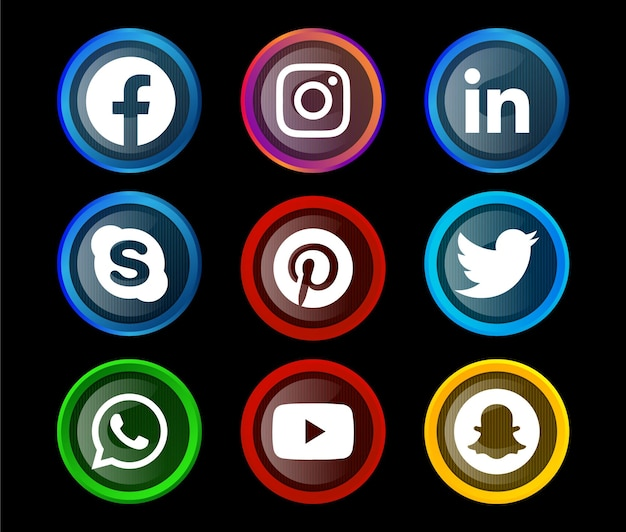 Round shiny social media icon button of facebook instagram linkedin skype pinterest twitter whatsapp youtube and snapchat with gradient set.