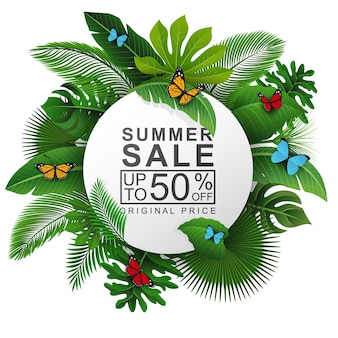 Round sign with tropical leaves and summer sale text