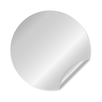 Round silver adhesive sticker with folded edge.