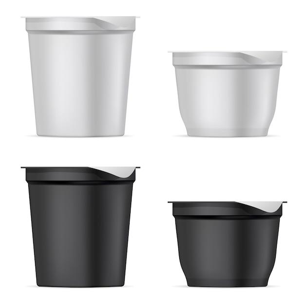 Round silver white and black matte plastic pot set