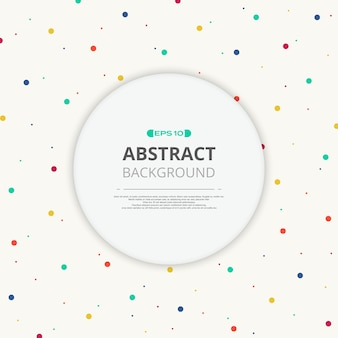 Round space of text in colorful splash dot pattern