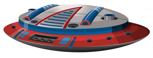 Круглый космический корабль с современным дизайном