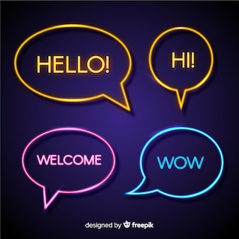 Round speech bubbles with greetings