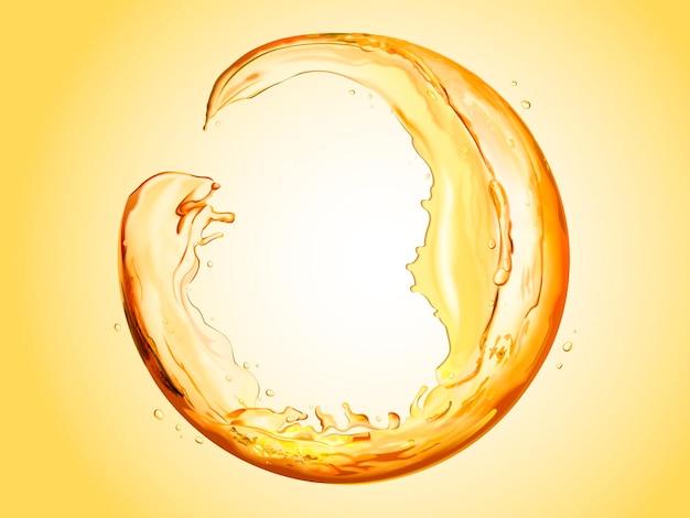 Круглая сфера из текущей жидкости, прозрачные брызги жидкости на 3d иллюстрации, оранжевый тон