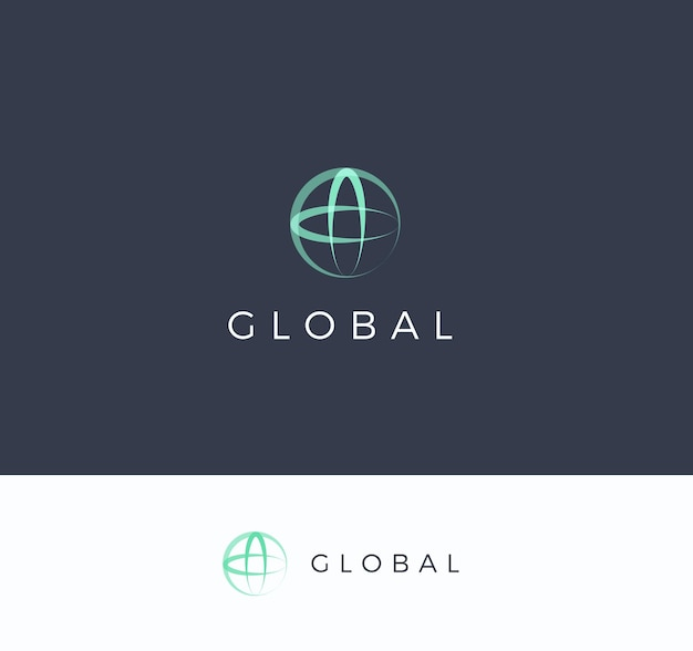 Round sphere with cross vector logo concept global universal technology isolated icon on dark