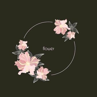 Круглая весенняя рамка с цветами