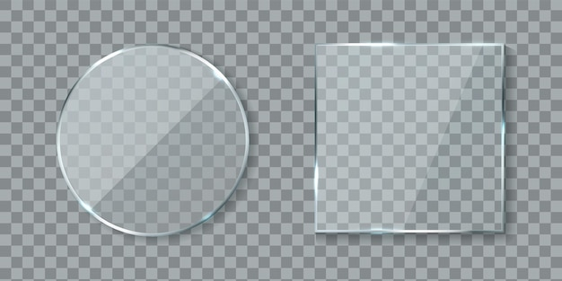 Round and square acrylic banners. mirror glass lens with glossy glare reflections set, realistic clear wall window with shadows isolated on transparent background, 3d vector mockups collection