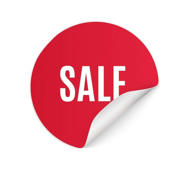 원형, 사각형, 직사각형, 꼬인 빨간색 판매 배너, 레이블, 태그. 흰색 배경에 판매를위한 빨간 종이 스티커.