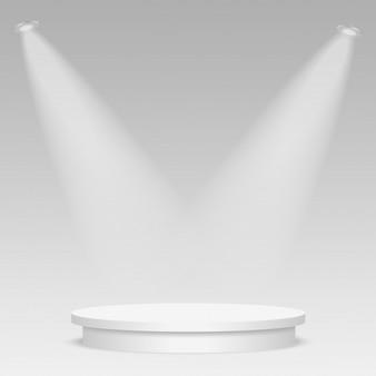 Round stage podium illuminated with light