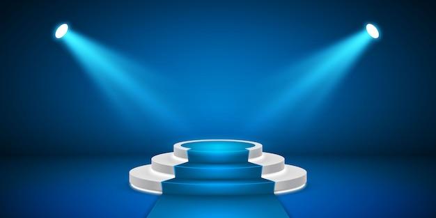빛을 가진 둥근 무대 연단. 시상식 카펫 축제 블루 연단 장면.