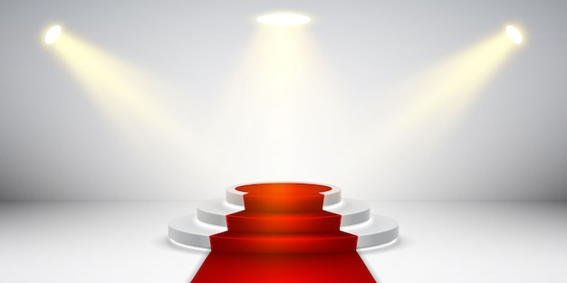 Round stage podium with light. festive podium scene with red carpet for award ceremony.
