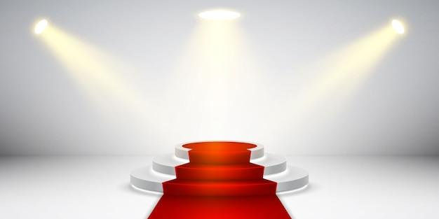 Круглый подиум с подсветкой. праздничная сцена подиума с красной ковровой дорожкой для церемонии награждения.
