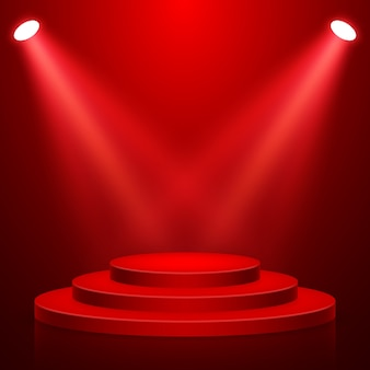 빛을 가진 둥근 무대 연단. 레드 카펫으로 축제 연단 장면