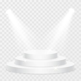 Круглый подиум с светом на прозрачном фоне. праздничная сцена подиума