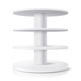 Round stand, shop display shelf and product rack showcase,  realistic  . supermarket round stand or store pos rotating display,  white model