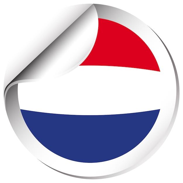네덜란드의 국기에 대 한 라운드 스티커 디자인