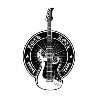 ギター学校のベクトルイラストの丸いステッカー。黒のプロモーションラベルまたはロックミュージックレッスンの広告