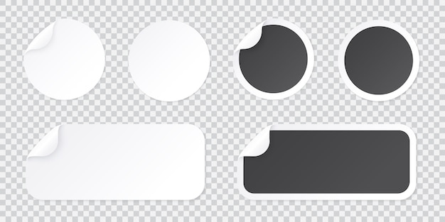 Round sticker template with peel of corner, black and white price tag or promo label template isolated on transparent