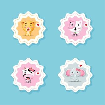 귀여운 동물 요소와 라운드 스티커
