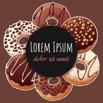 Round sticker with donuts.