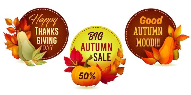 가을 판매 또는 휴일 인사말을 위한 원형 스티커