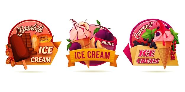 Круглые наклейки для мороженого или мороженого
