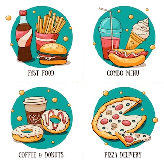 Round stickers with fast food menu for cafe in doodle style