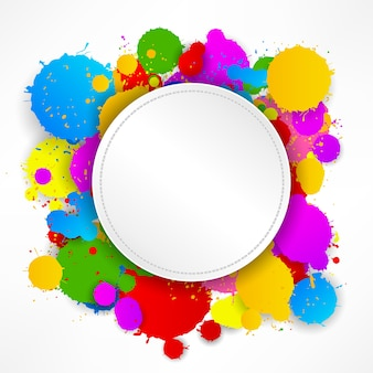 Round stitching paper on colorful splashes background